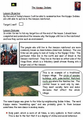 Kayapo Indians Letter and Classification